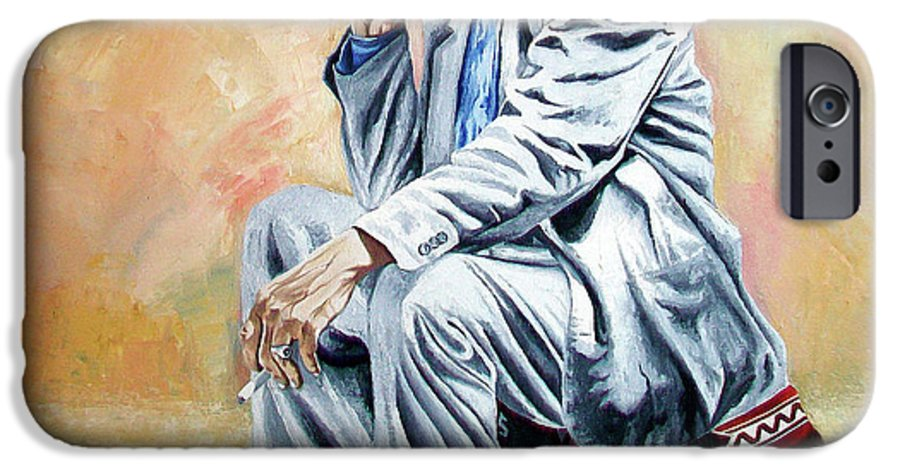 Figurative IPhone 6 Case featuring the painting Break For Smoking - Apeadero Para Fumar by Rezzan Erguvan-Onal