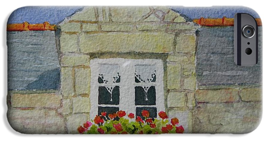 France IPhone 6 Case featuring the painting Bretagne Window by Mary Ellen Mueller Legault