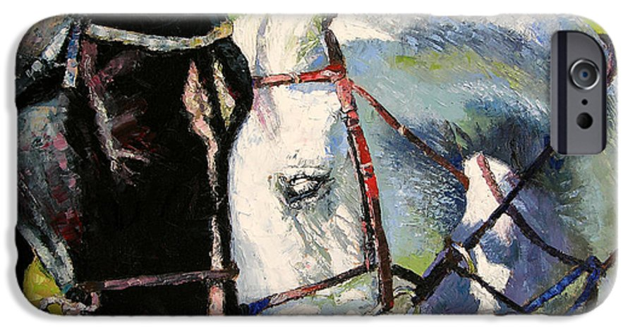 Horses IPhone 6 Case featuring the painting Bridled Love by John Lautermilch
