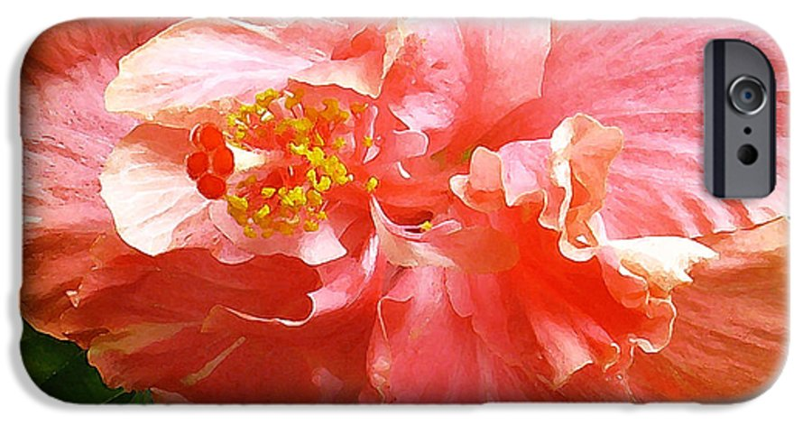 Hibiscus IPhone 6 Case featuring the digital art Bright Pink Hibiscus by James Temple