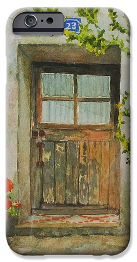 Door IPhone 6 Case featuring the painting Brittany Door by Mary Ellen Mueller Legault