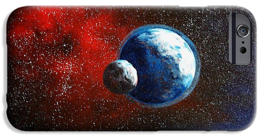 Astro IPhone 6 Case featuring the painting Broken Moon by Murphy Elliott