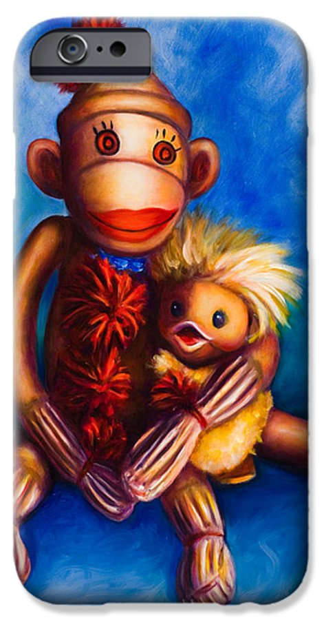 Sock Monkeys Brown IPhone 6 Case featuring the painting Buddies by Shannon Grissom