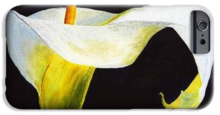 Close-up IPhone 6 Case featuring the painting Calla Lily by Bruce Combs - REACH BEYOND
