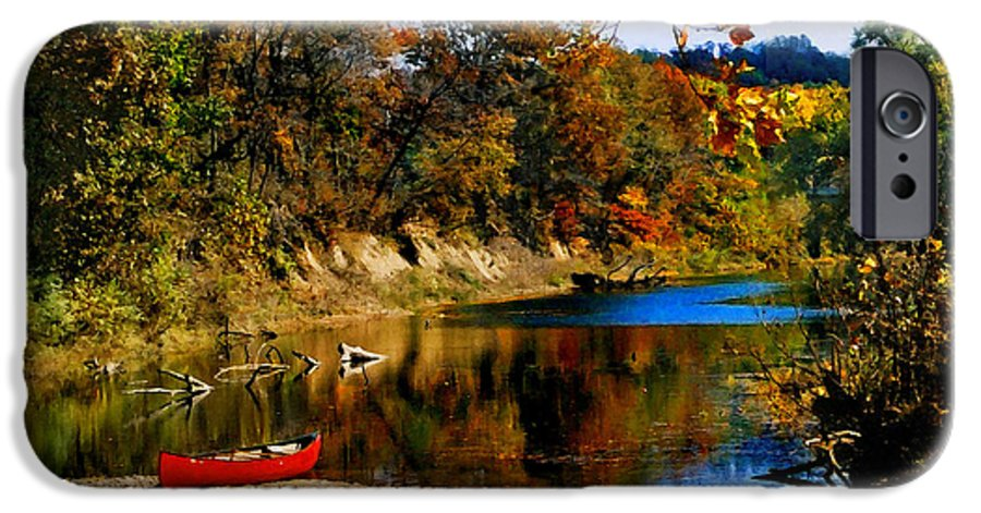 Autumn IPhone 6 Case featuring the photograph Canoe On The Gasconade River by Steve Karol