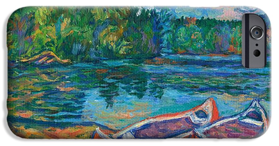 Landscape IPhone 6 Case featuring the painting Canoes At Mountain Lake Sketch by Kendall Kessler