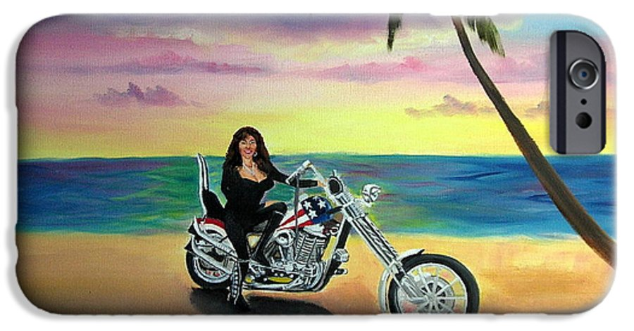 Harley Davidson IPhone 6 Case featuring the painting Captain America by Lora Duguay