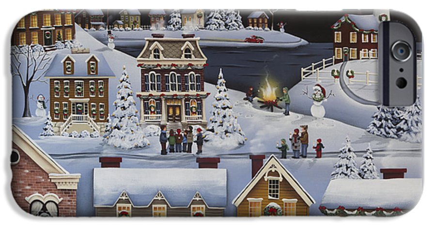 Art IPhone 6 Case featuring the painting Caroling in Winterberry by Catherine Holman