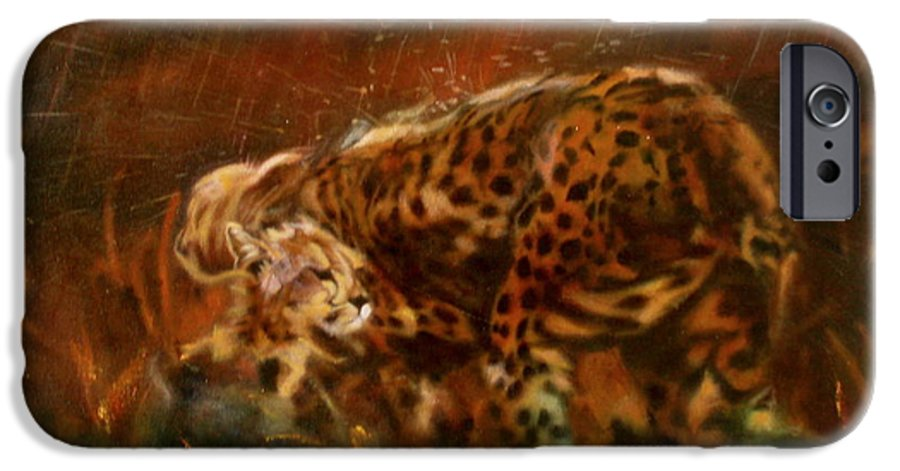 Rain;water;cats;africa;wildlife;animals;mother;shelter;brush;bush IPhone 6 Case featuring the painting Cheetah Family After The Rains by Sean Connolly