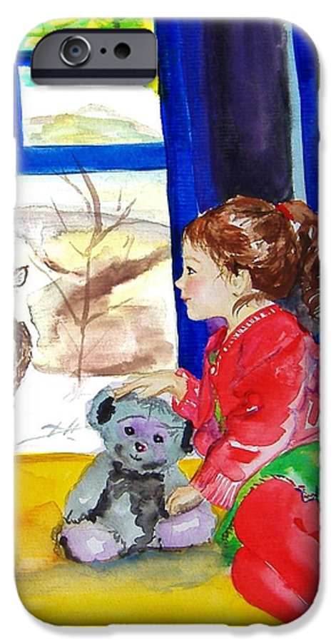 Christmas IPhone 6 Case featuring the painting Childhood by Laura Rispoli