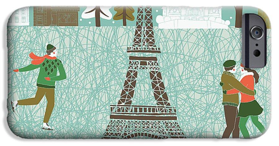 Love IPhone 6 Case featuring the digital art Christmas In Paris Print Design by Lavandaart