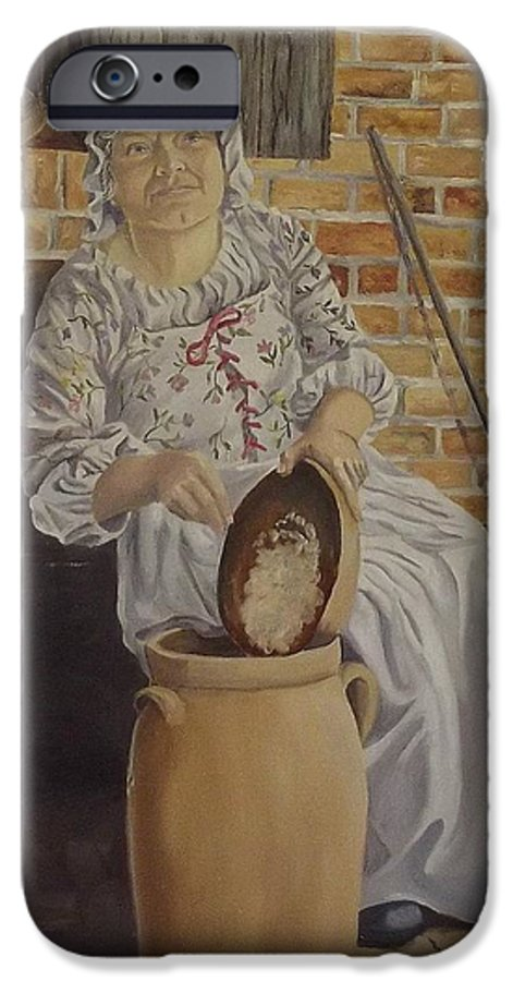 Historic IPhone 6 Case featuring the painting Churning Butter by Wanda Dansereau