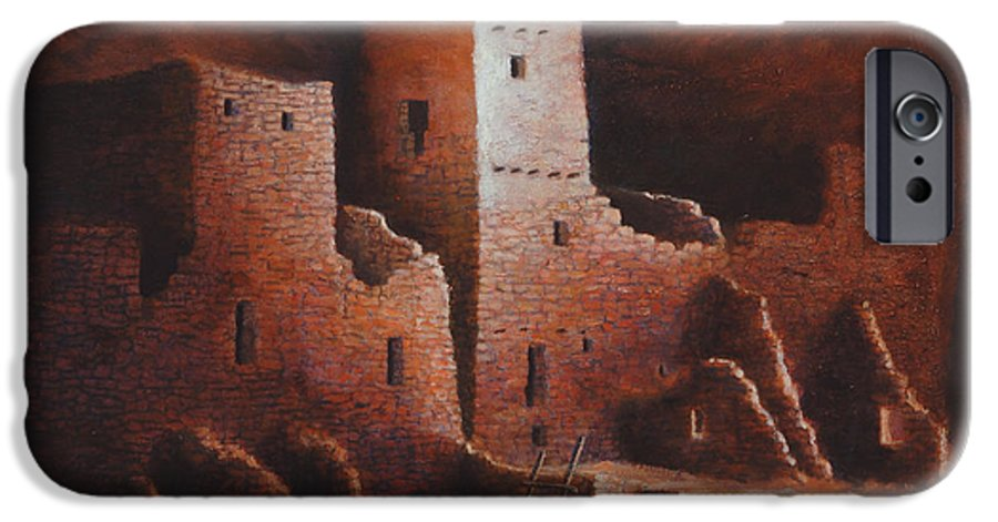 Anasazi IPhone 6 Case featuring the painting Cliff Palace by Jerry McElroy