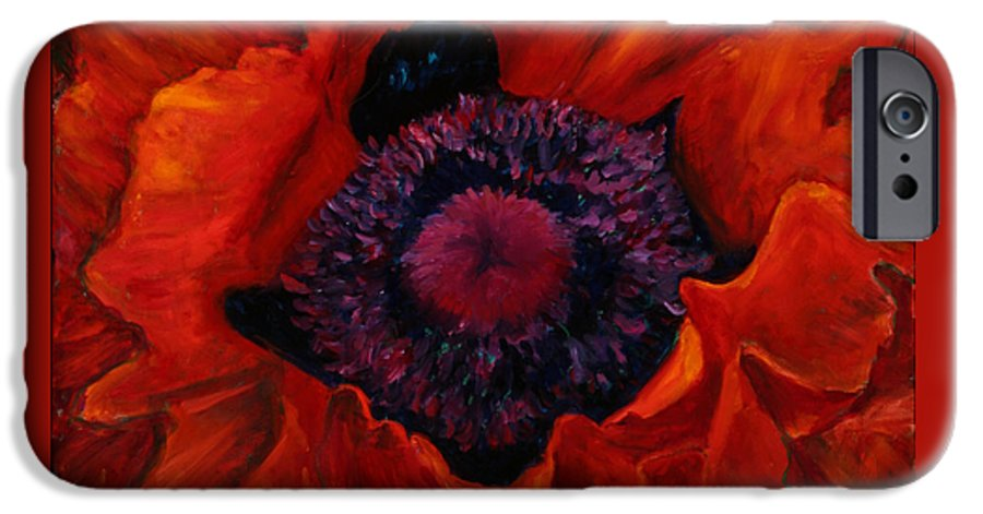 Red Poppy IPhone 6 Case featuring the painting Close Up Poppy by Billie Colson