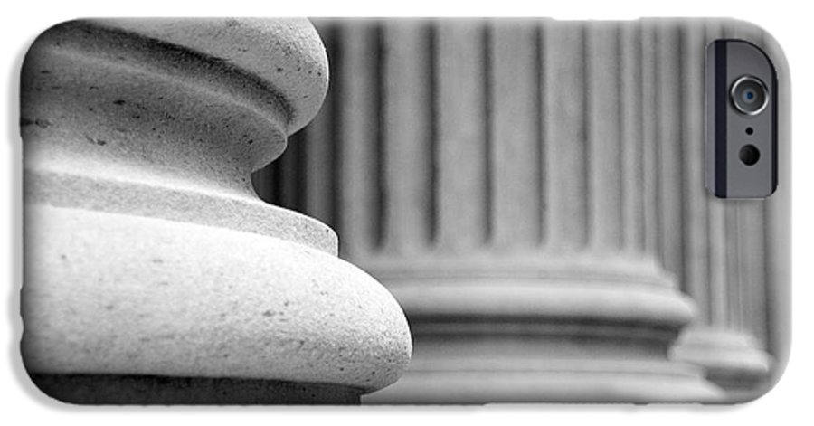 Black & White IPhone 6 Case featuring the photograph Columns by Tony Cordoza