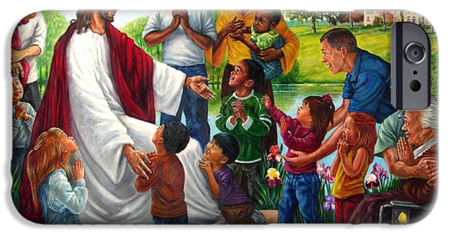 Children IPhone 6 Case featuring the painting Come Unto Me by John Lautermilch