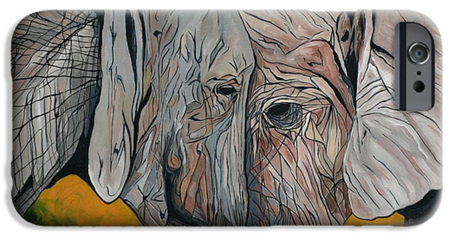 Elephant IPhone 6 Case featuring the painting Comfort by Aimee Vance