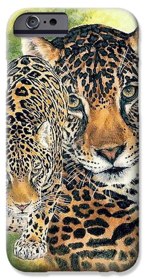 Jaguar IPhone 6 Case featuring the mixed media Compelling by Barbara Keith