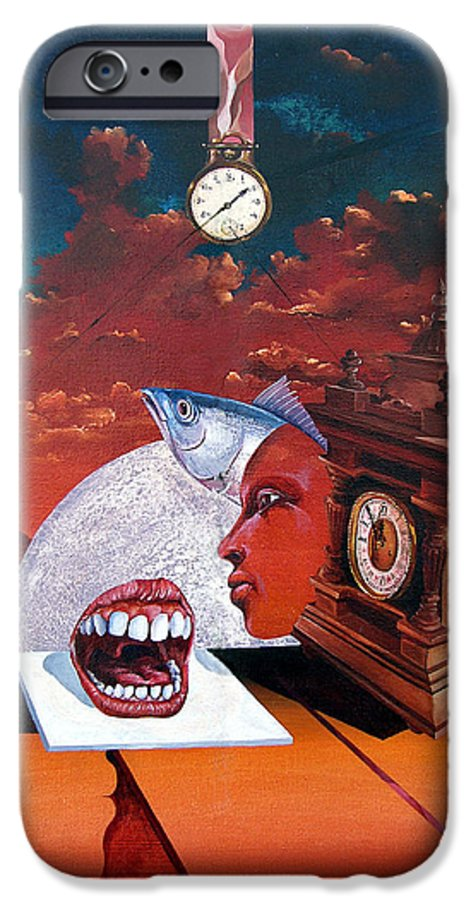 Otto+rapp Surrealism Surreal Fantasy Time Clocks Watch Consumption IPhone 6 Case featuring the painting Consumption Of Time by Otto Rapp