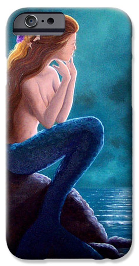Mermaid Art IPhone 6 Case featuring the painting Contemplation by Brenda Ellis Sauro