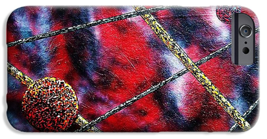 Abstract IPhone 6 Case featuring the painting Continuum Iv Red Sky by Micah Guenther