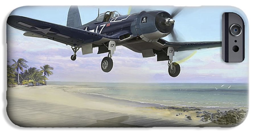 Airplane IPhone 6 Case featuring the painting Corsair Takeoff Vf-17 Jolly Rogers by Mark Karvon
