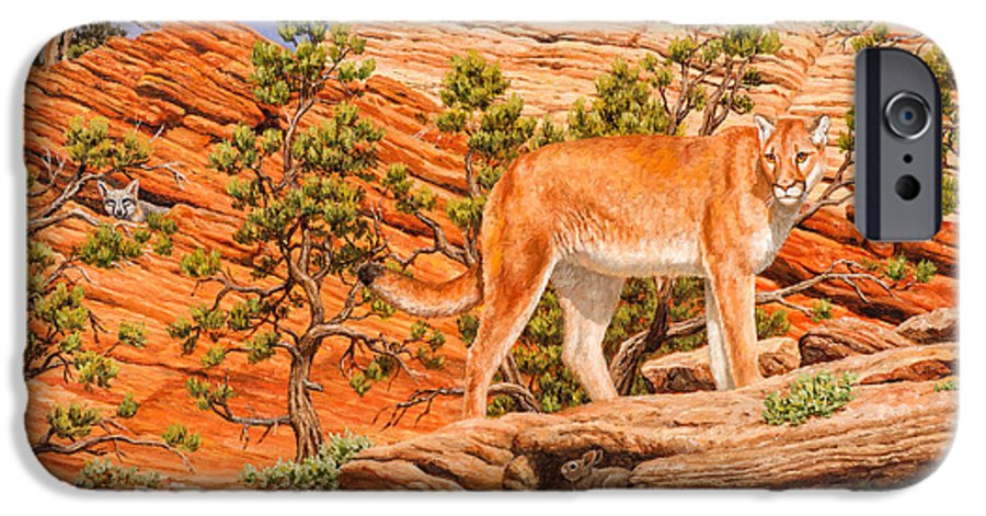 Cougar IPhone 6 Case featuring the painting Cougar - Don't Move by Crista Forest