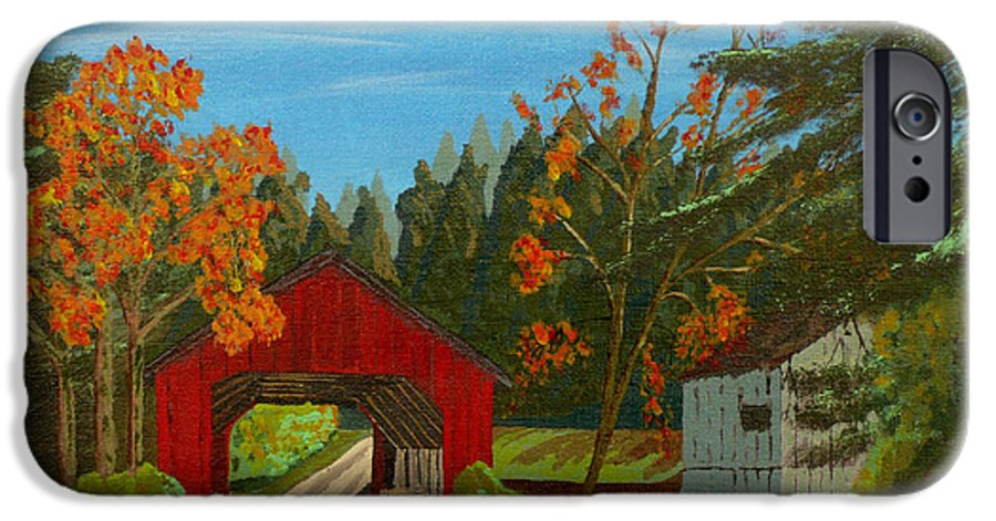 Path IPhone 6 Case featuring the painting Covered Bridge by Anthony Dunphy