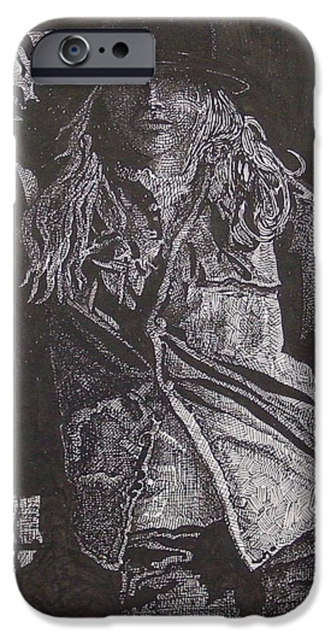 Figurative IPhone 6 Case featuring the drawing Cowgirl by Denis Gloudeman