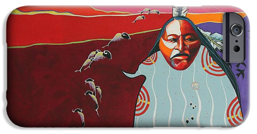 Native American IPhone 6 Case featuring the painting Creation by Joe Triano