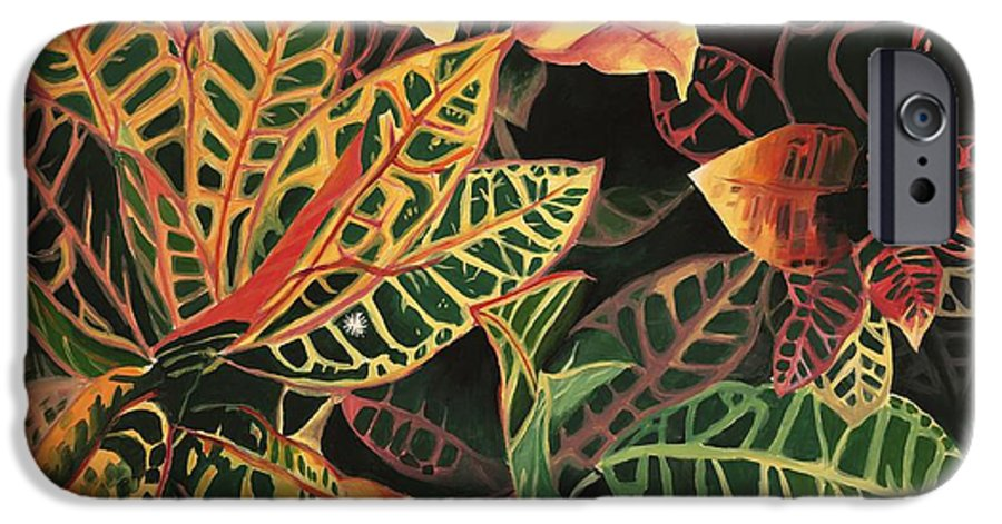 Croton Leaves IPhone 6 Case featuring the painting Croton Leaves by Judy Swerlick