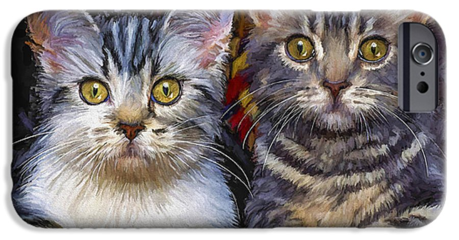 Cat IPhone 6 Case featuring the painting Curious Kitties by David Wagner