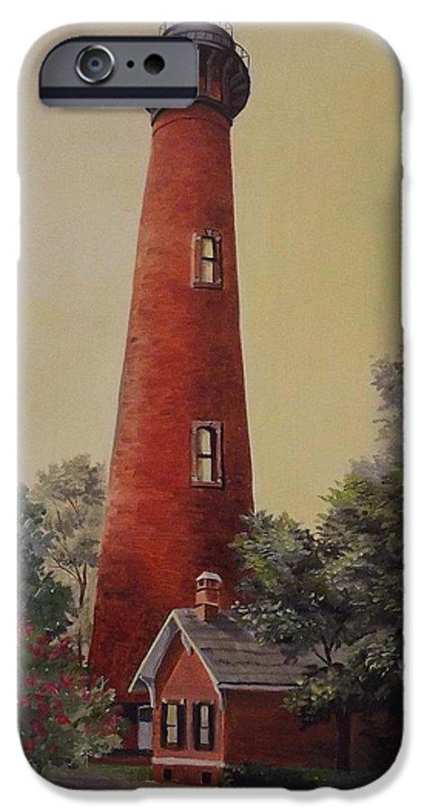 Lighthouse IPhone 6 Case featuring the painting Currituck Lighthouse by Wanda Dansereau