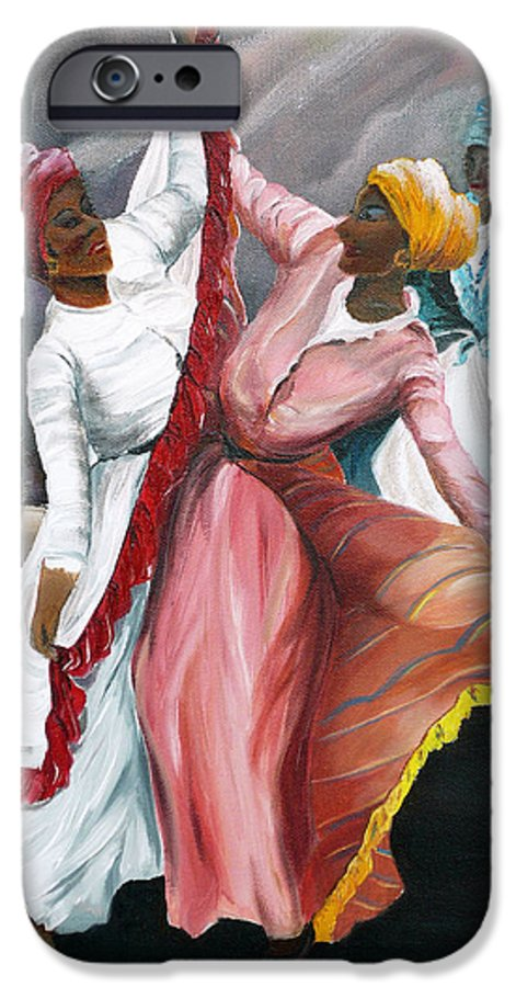 Dancers Folk Caribbean Women Painting Dance Painting Tropical Dance Painting IPhone 6 Case featuring the painting Dance The Pique 2 by Karin Dawn Kelshall- Best