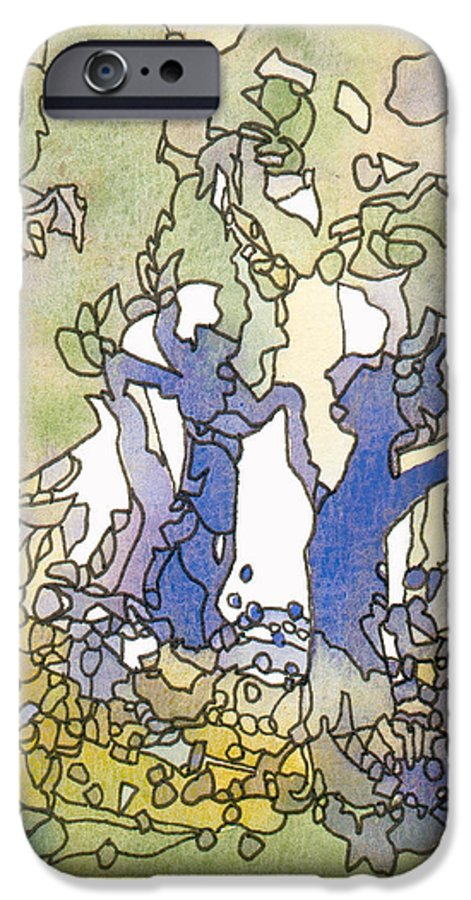 Abstract IPhone 6 Case featuring the painting Dancing Trees by Christina Rahm Galanis