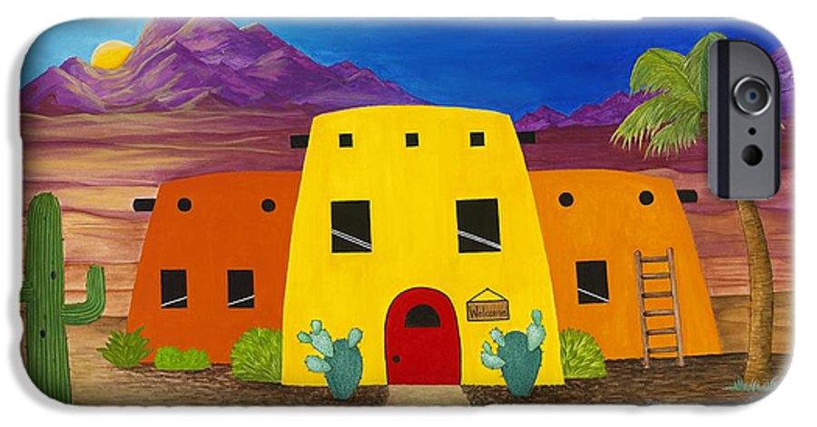 Whimsicle Desert Inn Has Vacancy IPhone 6 Case featuring the painting Desert Oasis by Carol Sabo