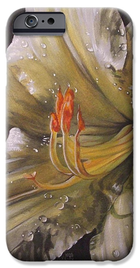 Daylily IPhone 6 Case featuring the painting Diamonds by Barbara Keith