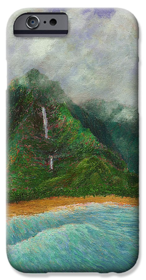 Coastal Decor IPhone 6 Case featuring the painting Distant Falls by Kenneth Grzesik