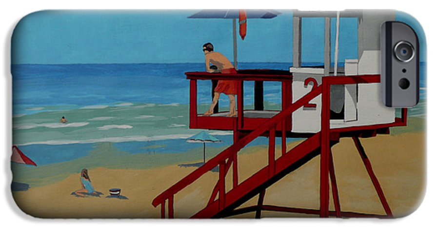 Lifeguard IPhone 6 Case featuring the painting Distracted Lifeguard by Anthony Dunphy