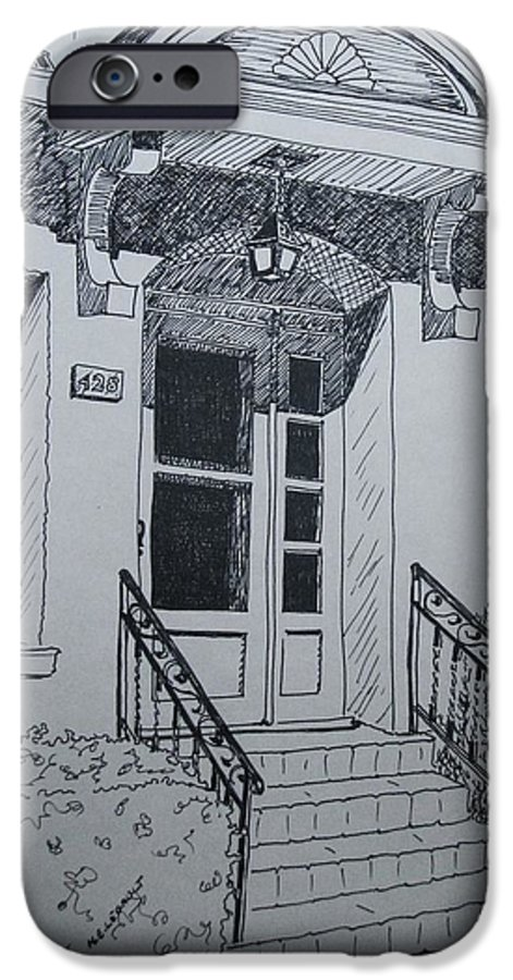 Pen And Ink IPhone 6 Case featuring the drawing Doorway by Mary Ellen Mueller Legault