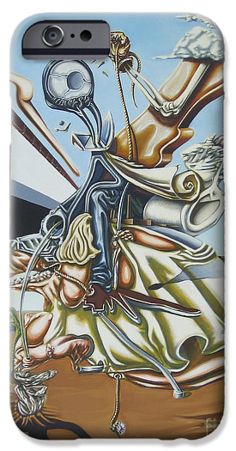 Surreal IPhone 6 Case featuring the painting Due To Rapid Advances In Modern Technology... by Mack Galixtar