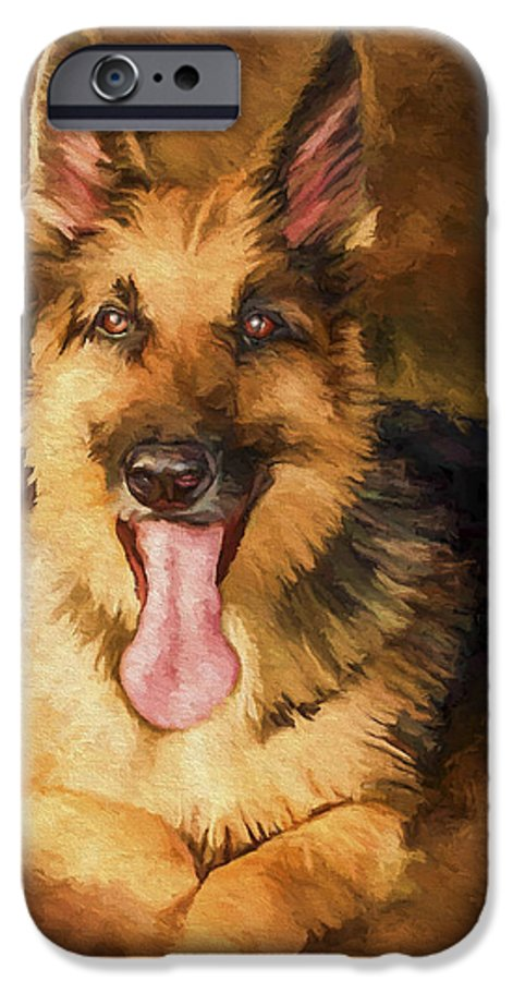 German Shepherd IPhone 6 Case featuring the painting Duke by David Wagner