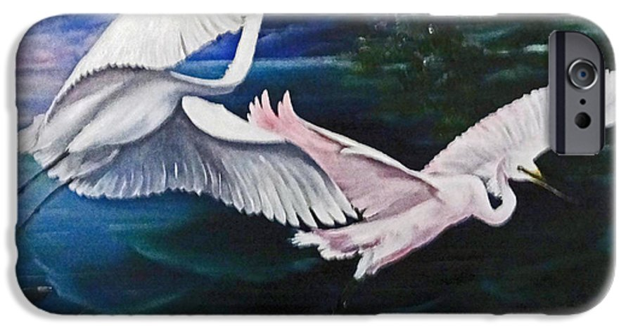 Snowy Egrets IPhone 6 Case featuring the painting Early Flight by Karin Dawn Kelshall- Best