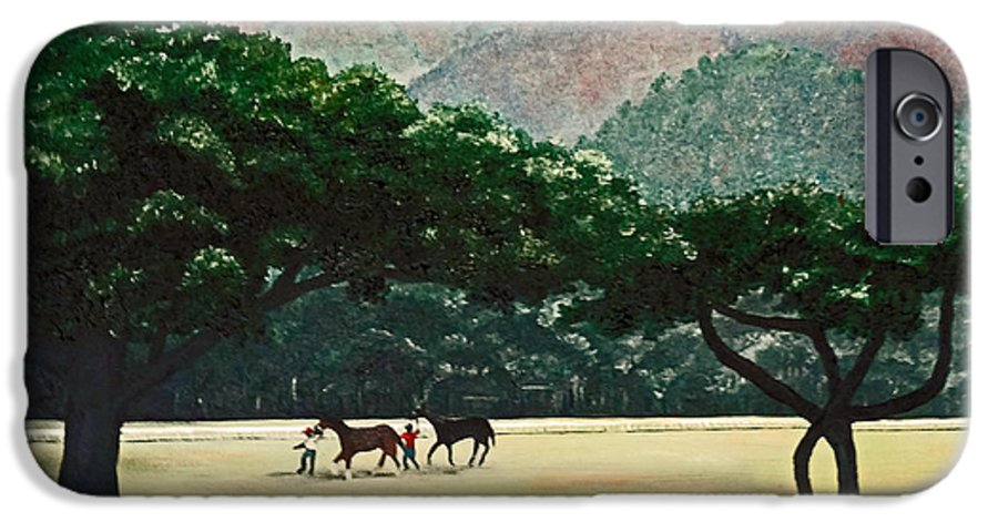 Trees IPhone 6 Case featuring the painting Early Morning Savannah by Karin Dawn Kelshall- Best