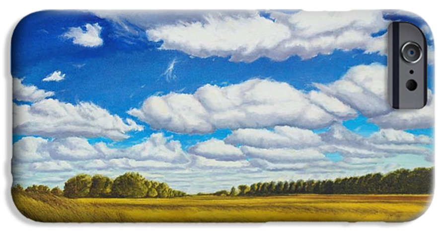 Wheat IPhone 6 Case featuring the painting Early Summer Clouds by Leonard Heid