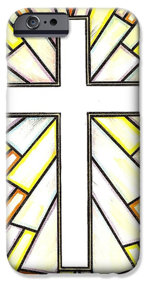 Cross IPhone 6 Case featuring the painting Easter Cross 3 by Jim Harris