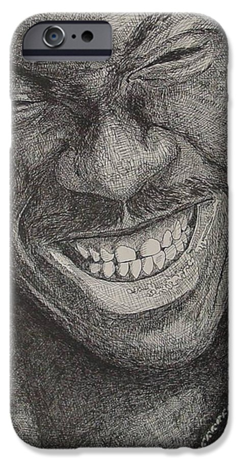 Portraiture IPhone 6 Case featuring the drawing Eddie by Denis Gloudeman