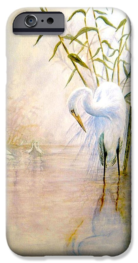 Eret; Bird; Low Country IPhone 6 Case featuring the painting Egret by Ben Kiger