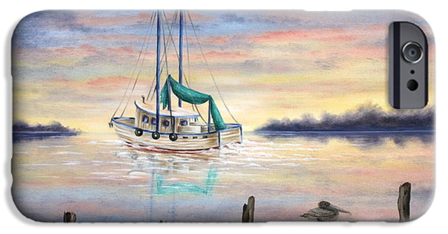 Seascape IPhone 6 Case featuring the painting End Of The Day by Ruth Bares