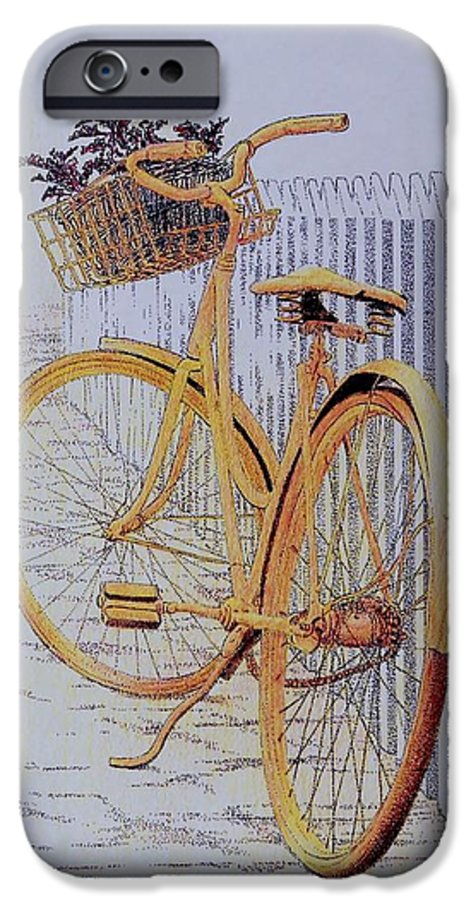 Bicycle Yellow Summer Flowers Plants IPhone 6 Case featuring the painting Endless Summer by Tony Ruggiero